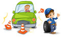 A car bumping the traffic cones illustration of on white background Royalty Free Stock Photos