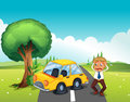 A car bumping the tree at the road illustration of Stock Image
