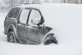 Car buried in snow a the winter Royalty Free Stock Photo