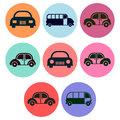 Car and bus icon designs a set of for graphic element use Stock Photography