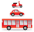 Car bus motorcycle a set of childrens illustration including a and a Stock Photography