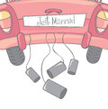 Car with cans as symbol of just married vector illustration Stock Image