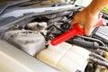 Car care as radiator hand man checking Stock Photo