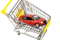 Car in cart a the shopping as a symbol for buying and leasing Royalty Free Stock Photography