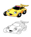 Car cartoon coloring page 2 Royalty Free Stock Images