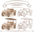 Car cartoon illustration old vintage s style Stock Photo