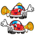 Car Character is holding a loudspeaker. Vector Car Mascot Design Royalty Free Stock Photo