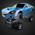 Car chassis with engine of luxury brandless sportcar d rendered image Royalty Free Stock Photos