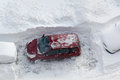 Car cleared snow snowfall Royalty Free Stock Photo