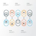 Car Colorful Outline Icons Set. Collection Of Rudder, Carcass, Speed And Other Elements. Also Includes Symbols Such As