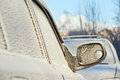 Car covered with frost winter cold day Royalty Free Stock Image