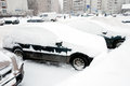 Car covered with snow. Moscow Russia Royalty Free Stock Images