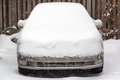 Car covered in snow several inches of chicago Stock Image