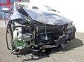 Car crash blue destroyed after Stock Photography