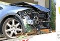 Car crash blue destroyed after Stock Photo