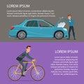 Car crash, buying a bike. Cartoon poster vector illustration. Royalty Free Stock Photo