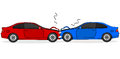 Car crash cartoon illustration showing two cars after a head on collision Stock Photo
