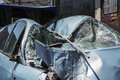 Car crash damaged after the accident Royalty Free Stock Image