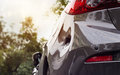 Car crash, distort and be hollow on the body car, vibrant colorful Royalty Free Stock Photo