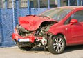 Car crash smashed front end of vehicle Stock Photo