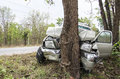 Car crash tree Royalty Free Stock Photo