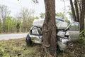 Car crash tree Royalty Free Stock Photo