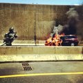 Car crash tunnel fire firefighter Stock Photography