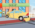 The car crashed into the shop