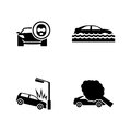 Car crashes. Simple Related Vector Icons
