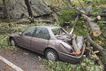 Car damaged by Hurricane Sandy Royalty Free Stock Images