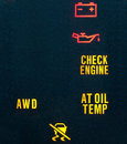 Car dashboard warning indicators Stock Photos