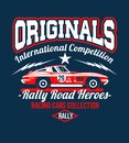 Typography Car design classic rally race retro t-shirts cool design print illustration. Speedway Kings. The car is no have
