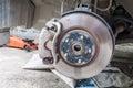 Car disc brakes fixing Royalty Free Stock Photo