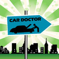Car doctor plate colorful illustration with a blue signpost with the text Royalty Free Stock Photos