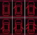 Car door open set icons on black background Stock Photo
