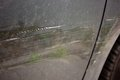 Car door with scratches after accident an Stock Photography