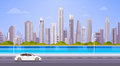 Car Drive Street Road Over City Skyscraper View Cityscape Background Skyline Panorama