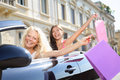 Car driver woman driving and shopping with friends Royalty Free Stock Photos