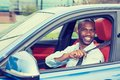 Car driver young man wearing safety belt driving new car Royalty Free Stock Photo