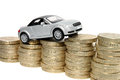 Car Driving Up Coins Stock Photo