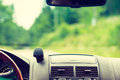 Car driving, view from inside on dashboard Royalty Free Stock Photo