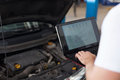 Car engine computer diagnostic Royalty Free Stock Photo