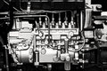 Car engine details diesel in black and white Royalty Free Stock Photography