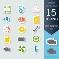 Car engine infographic icons set, Vector Illustrations stickers and paper cut style, Easy to editable and change Royalty Free Stock Photo