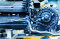 Car engine modern powerful motor unit clean and shiny Stock Photos