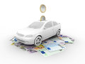 Car on euro bills Royalty Free Stock Photo