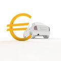 Car and euro with symbol Royalty Free Stock Photography