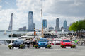 Car exhibition in manhattan cars presented at downtown new york city usa Royalty Free Stock Image