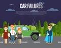 Car failures concept with people near broken car