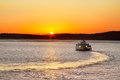 Car ferry leaving steilacoom heading out into the sunset from washington Royalty Free Stock Photography